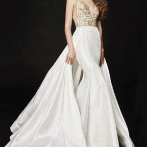 Angela and Alison Jeweled Overskirt Mermaid Gown
